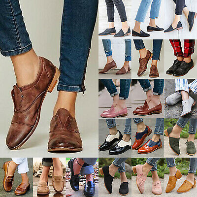 713a3b04256 Women s Slip On Brogue Oxford Comfy Loafers Ladies Flat Pumps Casual Ankle  Shoes