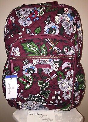776485fdb099 VERA BRADLEY Iconic Campus Backpack BORDEAUX BLOOMS Book Bag Travel College  NWT