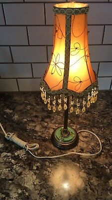 "18"" Tall Brass Table Lamp With Decorative Shade And Unique Glass Antique 35E"