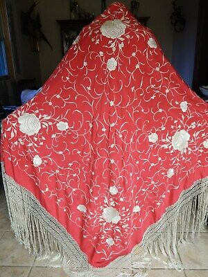 RARE ANTIQUE  CHINESE 1900's CANTON CORAL RED EMBROIDERED PIANO  SHAWL