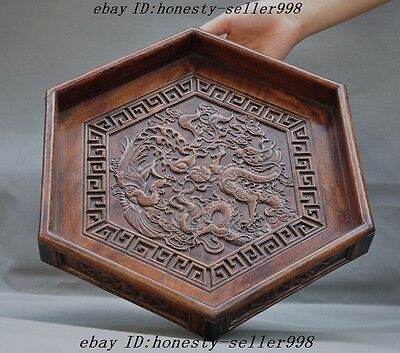 "14""Chinese huanghuali wood Carved fengshui Dragon Phoenix Statue Plate Dish Tray"