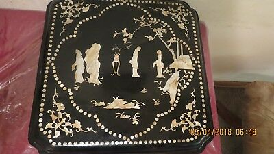 vintage lacquer wedding box with pearl inlay 18th century