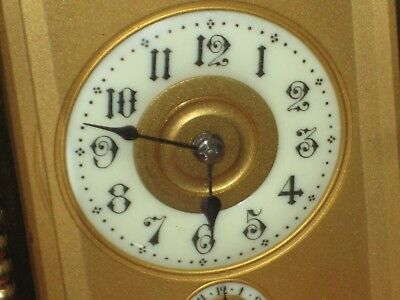 Fine porcelain Enamel dials Travel Carriage Clock brass french