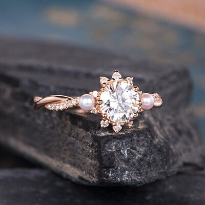 Exquisite Women Rose Gold Filled White Sapphire Ring Wedding Party Jewelry Sz 7