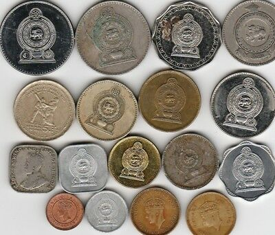 17 different world coins from SRI LANKA