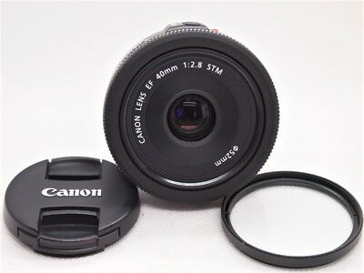 【 MINT 】 CANON EF 40mm F2.8 STM Pancake LENS w/ cap + filter from Japan [F/S]