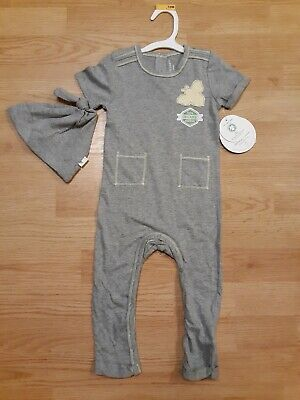 Burt's Bees Baby Boy Short Sleeve Coverall & Hat Set Gray 100%Organic size 12 mo