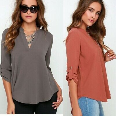 Women's Fashion Shirt Spring and Autumn V-neck Long Sleeve Blouse Female Top