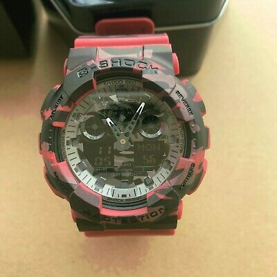 Casio G-Shock Grey Graphic Dial Red Camo Resin Quartz Men's Watch GA100CM-4A