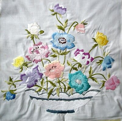 Vintage Hand Embroidered Large Linen Unframed Picture Bowl of Spring Flowers