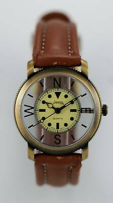 Jeep Gear Unisex Stainless Brown Leather Easy Read Quartz Clear Collectors Watch