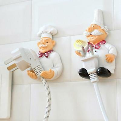 Diking Chef Figurines Power Plug Hook Wall Cable Holder Decorative Storage CS