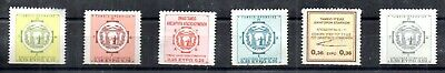 6 Old Greek Revenue Stamps all in EUROS (0.15 to 0.50) UNUSED Provident Fund etc