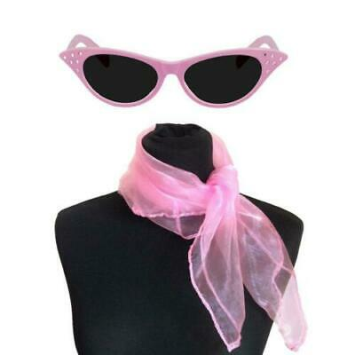 Pink Glasses Ladies Scarf  50's Fancy Dress Hen Nights Party 1950's Sandy