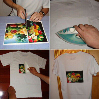 10x iron-on heat transfer sheets light fabrics t-shirt printed blank A4 paper BL