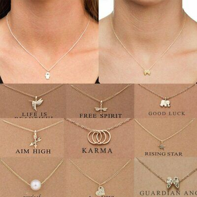 Fashion Women Elephant Sun Heart Necklace Charms Pendant Gold Chain Card Jewelry