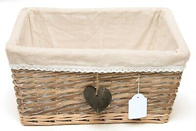Shabby Chic Split Willow Basket with Cotton Lining - Wholesale - Pack of 10
