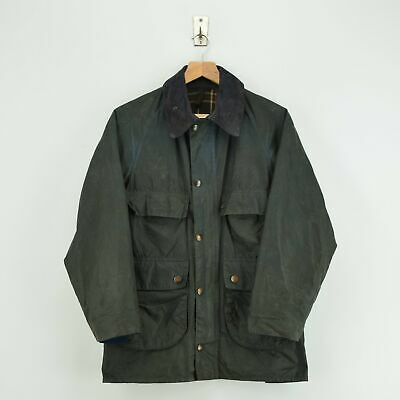 Vintage Barbour 80s 2 Crest Bedale 4 Pocket Wax Jacket Made In England XS / S