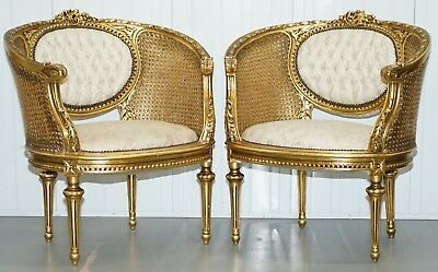 wi19TH CENTURY GILTWOOD LOUIS XV STYLE CANE CHESTERFIELD BUTTONED ARMCHAIRS PAIR