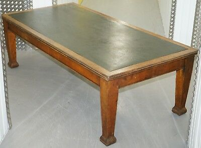 Huge Circa 1900 Solid Oak Refectory Library Dining Table Lovely Thick Legs