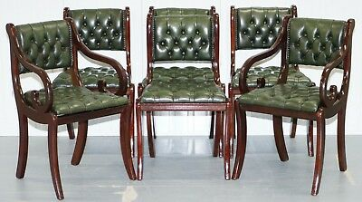 6 Mahogany Beresford & Hicks England Dining Chairs Chesterfield Leather Hide