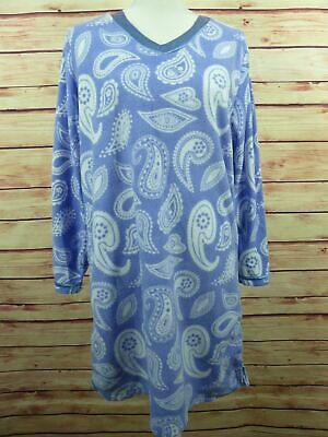 Hotel Spa Collection Womens Fleece Nightgown Sz M Purple White Long Sleeve