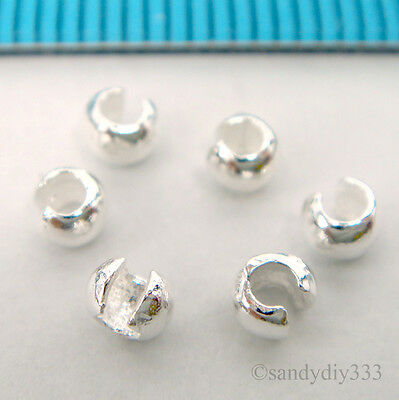 100 pcs x BRIGHT STERLING SILVER CRIMP BEAD KNOT COVER 3mm #2231A