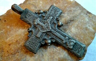 "UNIQUE 17-18th CENT. LARGE ORTHODOX ""OLD BELIEVERS"" ORNATE ""SUN"" CROSS PSALM 68"