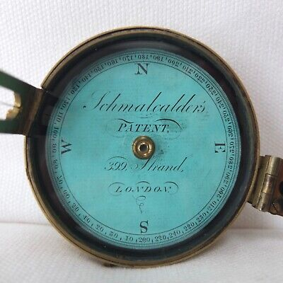 SCHMALCALDER'S PATENT PRISMATIC COMPASS c.1826 VERY RARE GEORGIAN ANTIQUE BRASS