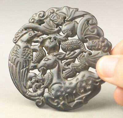 Old Chinese natural jade hand-carved bird and deer pendant NO.G943