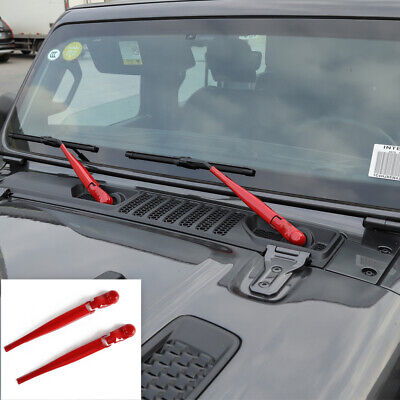 Red Front Window Windshield Wiper Blade Decor Cover Trim For Jeep Wrangler 2018+