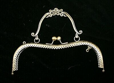 Bronze-Coloured Metal Kiss Clasp for Clutch bag or Evening Bag