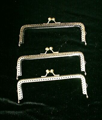 Set of Three Bronze -tone Metal Kiss Clasps for Clutch or Evening Bag