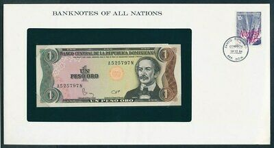 Dominican Republic: 1984 1 Peso Note & Stamp Cover, Banknotes Of All Nations