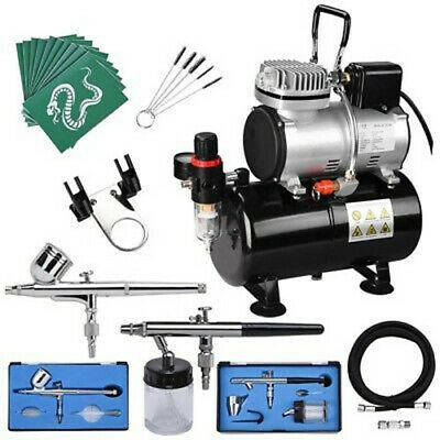 AS186S Airbrush With Compressor - Double Action Air Brush Spray Kit Paint