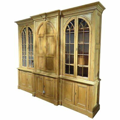 English Country Formal Solid Pine Georgian Breakfront Bookcase China Cabinet