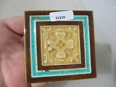 Victorian Ceramic Tile Terracotta Antique 1800's Vintage Old Floral Minton