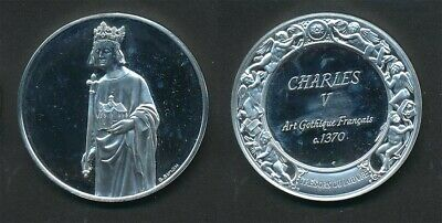 France: Louvre Collection - Charles V Statue 40g Silver Medal, 45mm