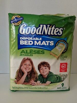 GoodNites Disposable Bed Mats with Adhesive Strips 9 Count Pkg NIP New Sealed
