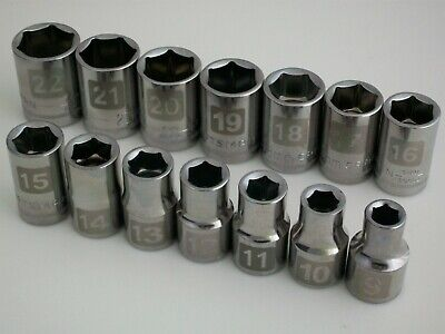 "NEW Lot Craftsman 14pc 1/2"" Metric/mm Dual Marked Laser Socket Wrench Set 6pt"