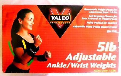 Valeo Adjustable Ankle/Wrist Weights - Adjustable Weight from 1 to 5 lbs New