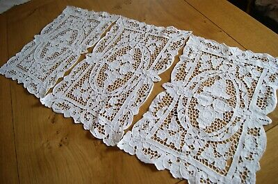3 Vintage Needlelace Embroidered Mats Doilies Tablecentres #22