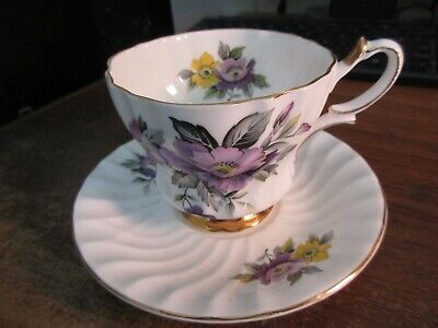 Queen Anne Bone China Tea Cup And Saucer 200-England Purple/Yellow Flowers