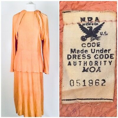Vintage NRA Blue Eagle 1930s Peach Pink Crepe Dress National Recovery Label Deco