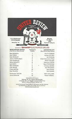 Manchester United v Leicester City FA Youth Cup Football Programme 1989/90
