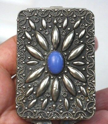 Old Vintage Southwest Repousee Sterling Silver Opal Stone Ladies Powder Compact