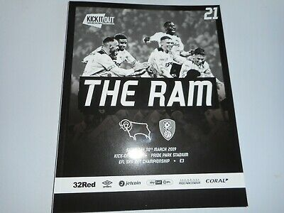 DERBY COUNTY  v  ROTHERHAM UNITED  2018/19  MAR  30th MINT UNREAD  **FREE POST**