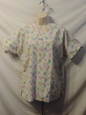 69bddc15298 WOMEN'S MEDICAL SCRUB Top Curious George Brand Size Large # 25P ...