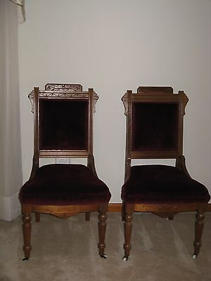 Victorian East Lake Walnut Side Chairs 1800'S ( Pair Of 2 )