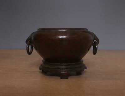 Xuande Signed Old Chinese Bronze or Copper Incense Burner w/Elephant Ears Pedest
